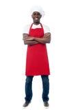Afrykański fachowy szef kuchni z mundurem fotografia stock