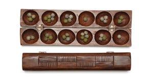Afrykański gemowy Awale drewniany stół Obrazy Stock