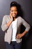 Afrykański kobiety czerni tło fotografia stock