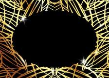 Afrykański Luksusowy egzota wzór Elegancka broszurka, Złocista błyszcząca Geometryczna rama Abstrakcjonistyczna tekstura z palmą, royalty ilustracja