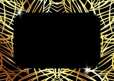 Afrykański Luksusowy egzota wzór Elegancka broszurka, Złocista błyszcząca Geometryczna rama Abstrakcjonistyczna tekstura z palmą, ilustracji