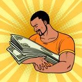 Afrykański mężczyzna kocha pieniądze, opiekę i konserwację finanse, royalty ilustracja