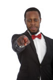 Afrykański mężczyzna wskazuje przy kamerą Obrazy Royalty Free