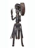Afrykański pamiątkarski dancingowy szaman z tambourine, żelazna rocznik figurka Zdjęcie Stock