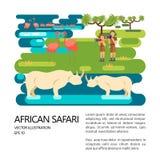 Afrykański safari przewdonika pojęcie ilustracji