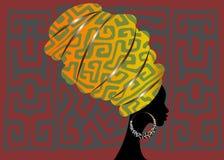 Afrykański szalik, portreta Afro kobieta w geometri turbanie Plemienna opakunek moda, Ankara, Kente, kitenge Nigeryjski styl ubie ilustracji