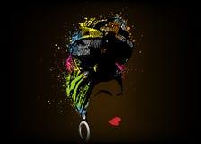 Afrykański szalik, portreta Afro kobieta w pasiastym turbanie Plemienna opakunek moda, Ankara, Kente, kitenge, Afrykańskie kobiet royalty ilustracja