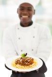 Afrykański szefa kuchni spaghetti Obraz Stock