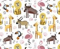 afrykański zwierząt kreskówki ilustraci wektor ilustracji