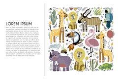 afrykański zwierząt kreskówki ilustraci wektor royalty ilustracja