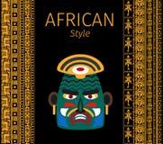 Afrykańskie kolor żółty granicy i maskowy projekt ilustracji