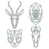 Afrykańskie zwierzęce ikony, wektorowy ikona set Abstrakcjonistyczny trójgraniasty styl Zdjęcia Stock