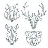 Afrykańskie zwierzęce ikony, wektorowy ikona set Abstrakcjonistyczny trójgraniasty styl Zdjęcie Stock