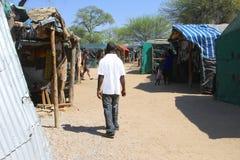 Afrykańskiego mężczyzna drewniane rzeźby wprowadzać na rynek, Okahandja, Namibia Zdjęcia Royalty Free