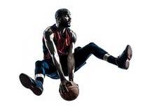 Afrykańskiego mężczyzna gracza koszykówki skokowa sylwetka Fotografia Stock