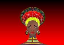 Afrykańskiego plemienia Odzieżowy Żeński zulu, portret śliczni południe - afrykańska kobieta Typowa odzież dla zamężnych kobiet,  ilustracja wektor