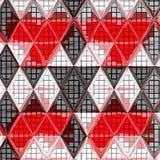 Afrykańskiego trójboka ciągły wzór w czerwieni, biel i siwieje ilustracji