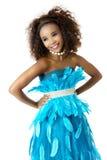 Afrykańskiej kobiety Wzorcowa Jest ubranym turkus Upierzająca suknia, Duży Afro Zdjęcie Royalty Free