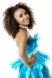 Afrykańskiej kobiety Wzorcowa Jest ubranym turkus Upierzająca suknia, Duży Afro, Z ukosa Zdjęcie Stock