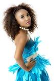 Afrykańskiej kobiety Wzorcowa Jest ubranym turkus Upierzająca suknia, Duży Afro, Z ukosa Obraz Royalty Free
