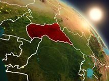 Afryka Środkowa od przestrzeni podczas wschodu słońca Zdjęcia Royalty Free