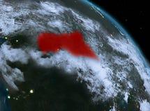 Afryka Środkowa przy nocą od orbity Fotografia Stock
