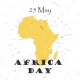 Afryka dzień, 25th Maja pojęcie z sylwetką Textured kontynentu i literowania typografia z wybuchem na Starym Zdjęcia Royalty Free