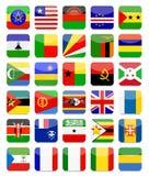 Afryka flaga mieszkania kwadrata ikona Ustawia 2 Fotografia Stock