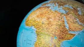 Afryka i środkowa wschodnia mapa na kuli ziemskiej z czarnym tłem Zdjęcie Stock