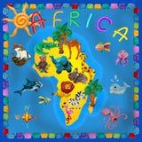 Afryka kontynentu plastelina żartuje 3d mapę Obraz Stock