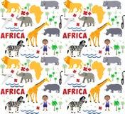 Afryka kreskówki wzór Zdjęcia Stock