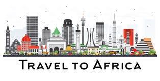Afryka linia horyzontu z Sławnymi punktami zwrotnymi Obraz Stock