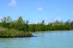 Afryka, malowniczy aera błękit zatoka blisko Mahebourg Zdjęcia Royalty Free