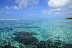 Afryka, malowniczy aera błękit zatoka blisko Mahebourg Obraz Stock