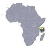 Afryka mapa z Comoros Zdjęcia Royalty Free