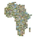 Afryka mapa z fotografiami Zdjęcia Stock