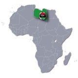 Afryka mapa z Libia Zdjęcia Royalty Free