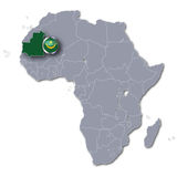 Afryka mapa z Mauretania Obrazy Royalty Free