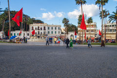 Afryka, Maroko, Tanger, miasto, miastowy widok, zaludnia, fontanna 2 Obraz Stock
