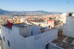 Afryka, Maroko, Tanger, wzgórza i samochód, 2013 Obraz Stock