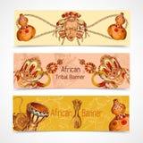 Afryka nakreślenia barwioni sztandary horyzontalni royalty ilustracja
