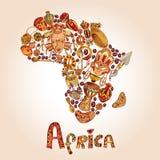 Afryka nakreślenia pojęcie ilustracja wektor