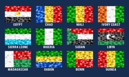 Afryka niskie poli- flaga Zdjęcia Stock