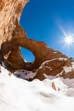 Afryka Pólnocna geological cud: wielka dziura Akhiam Zdjęcie Royalty Free