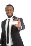 Afrykański biznesmen przedstawia jego karcianego Obraz Stock