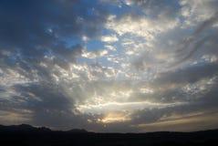 Afrykański chmurny zmierzch, Wielki rift valley, Tanzania, Wschodni Afryka Obrazy Stock