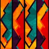 Afrykański geometryczny bezszwowy wzór z grunge skutkiem Zdjęcia Royalty Free