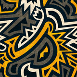 Afrykański geometryczny bezszwowy wzór z grunge skutkiem Obrazy Royalty Free