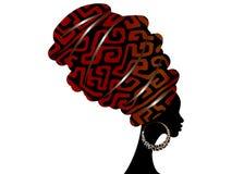Afrykański szalik, portreta Afro kobieta w geometri turbanie Plemienna opakunek moda, Ankara, Kente, kitenge Nigeryjski styl ubie ilustracja wektor