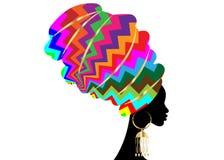 Afrykański szalik, portreta Afro kobieta w kolorowym pasiastym zygzakowatym turbanie Plemienna opakunek moda, Ankara, Kente, kite ilustracja wektor
